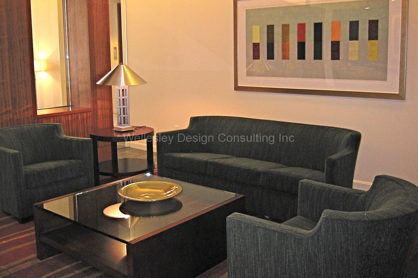 Massachusetts interior designers, WDC in Methuen, designed this common area in a luxury apartment building in Cambridge MA