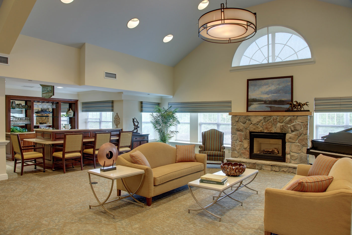 WDC's design of a spacious, common seating area invites daily socializing in this senior living community