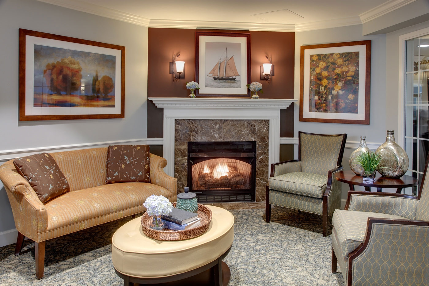 Our interior design for a cozy family visiting area in an assisted living/memory care community
