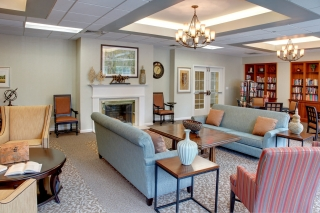 Our interior design for an inviting social area in a memory care community