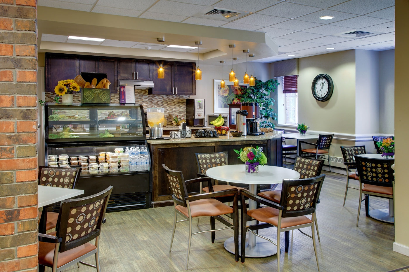 Our lively interior design for a cafe in a NY memory care community