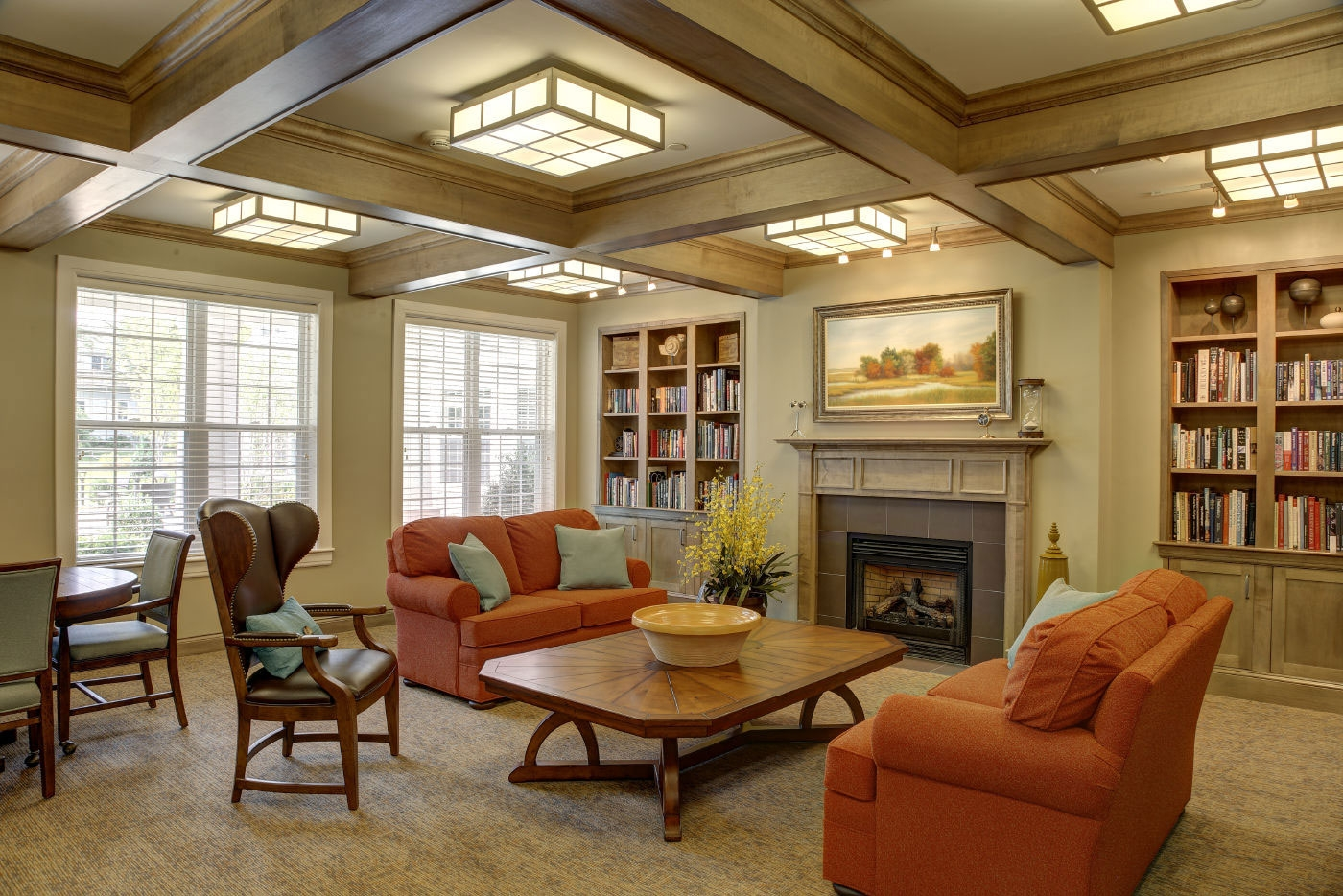 This showcases WDC's interior design skills for creating serene reading areas for senior communities