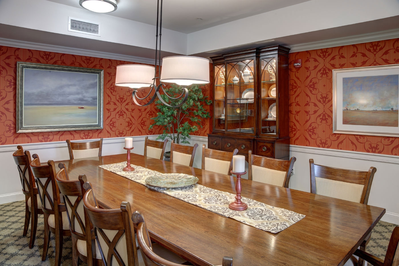 WDC's design for a warm, private family dining area for an assisted living/memory care community