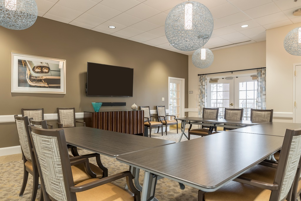 Multi-purpose space designed for flexible use in senior living community