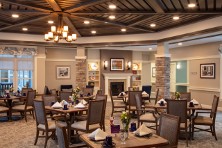 WDC interior designers provided plenty of space for this dining room in an assisted living community