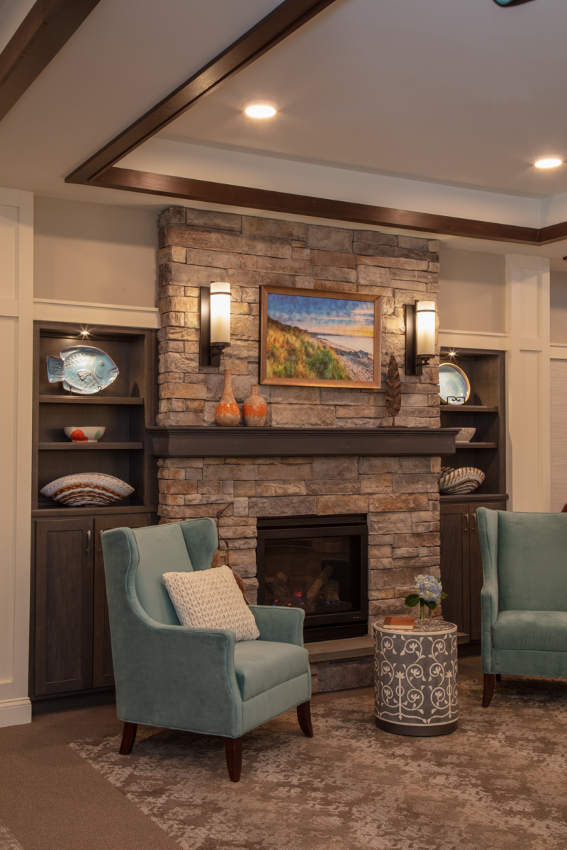 Our interior design for a common seating area in an assisted living community