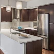 Modern kitchen design in apartment at senior independent living community