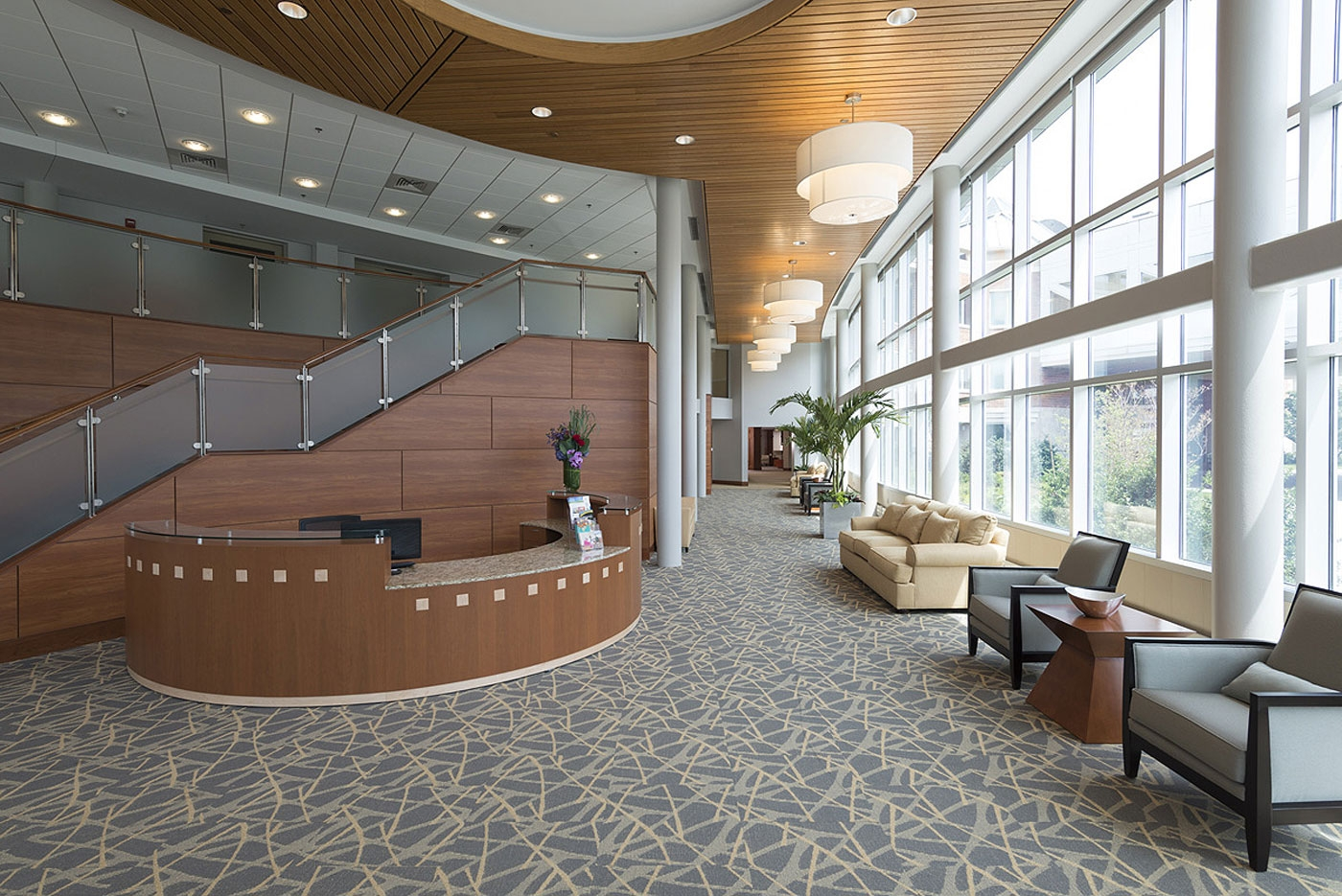 Our interior design highlights natural light in this lobby of a CCRC