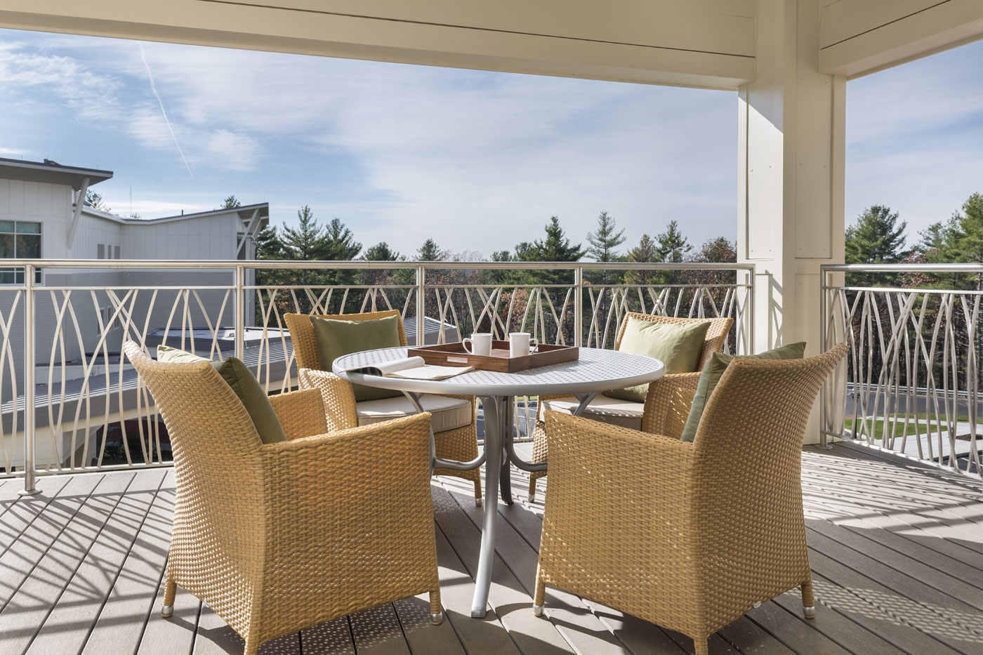 WDC's interior designers created this outdoor dining areas for seniors at this CCRC