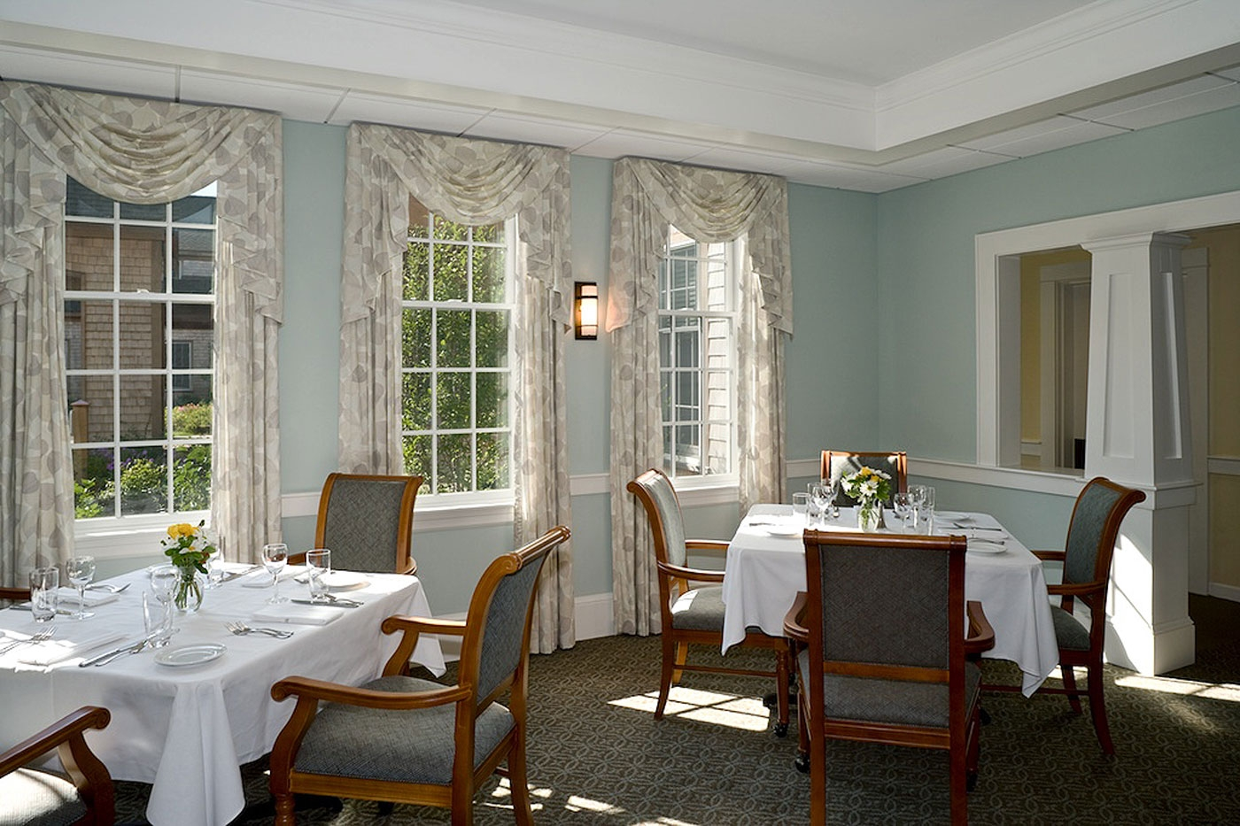 Dining area interior design for this community in Nantucket, MA.