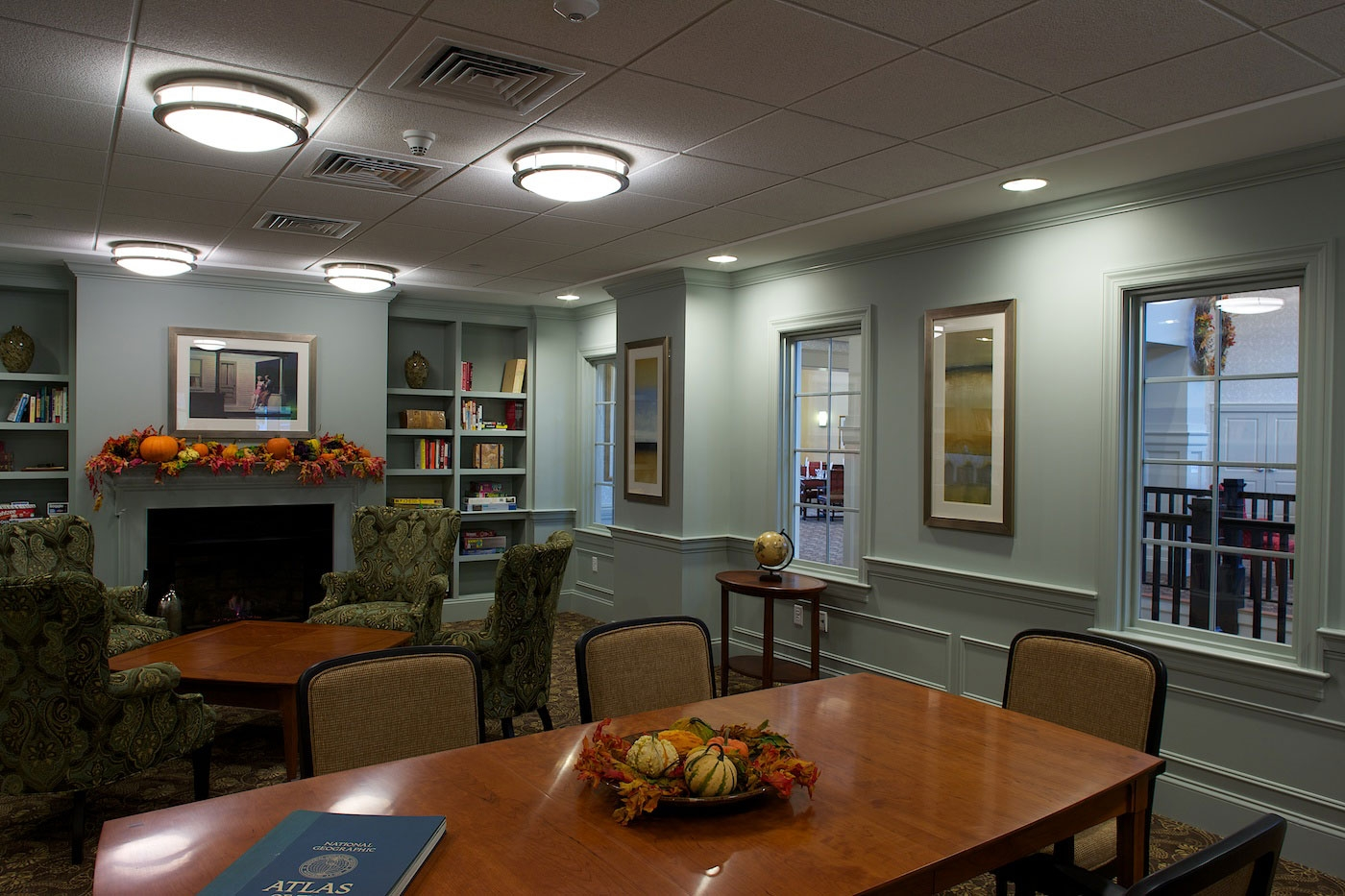 Cozy common seating area designed by WDC for this assisted living community