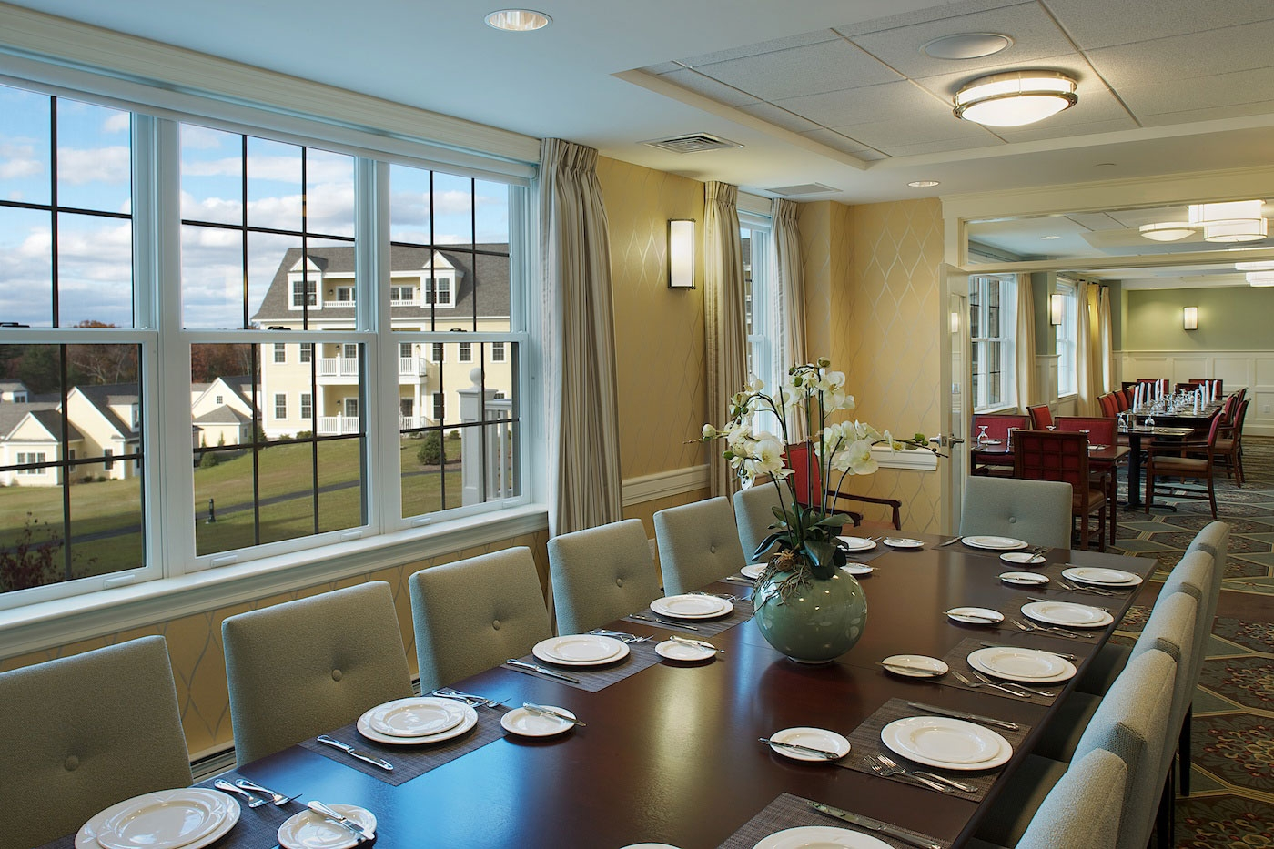 Designers at WDC envisioned this open dining room concept at assisted living community in Lincoln MA