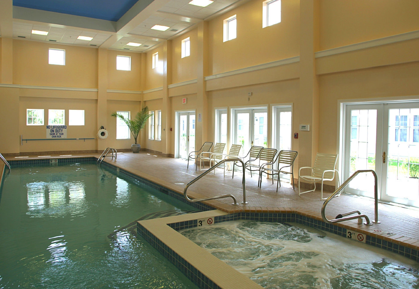 Interior design of the pool area for active seniors living in this CCRC