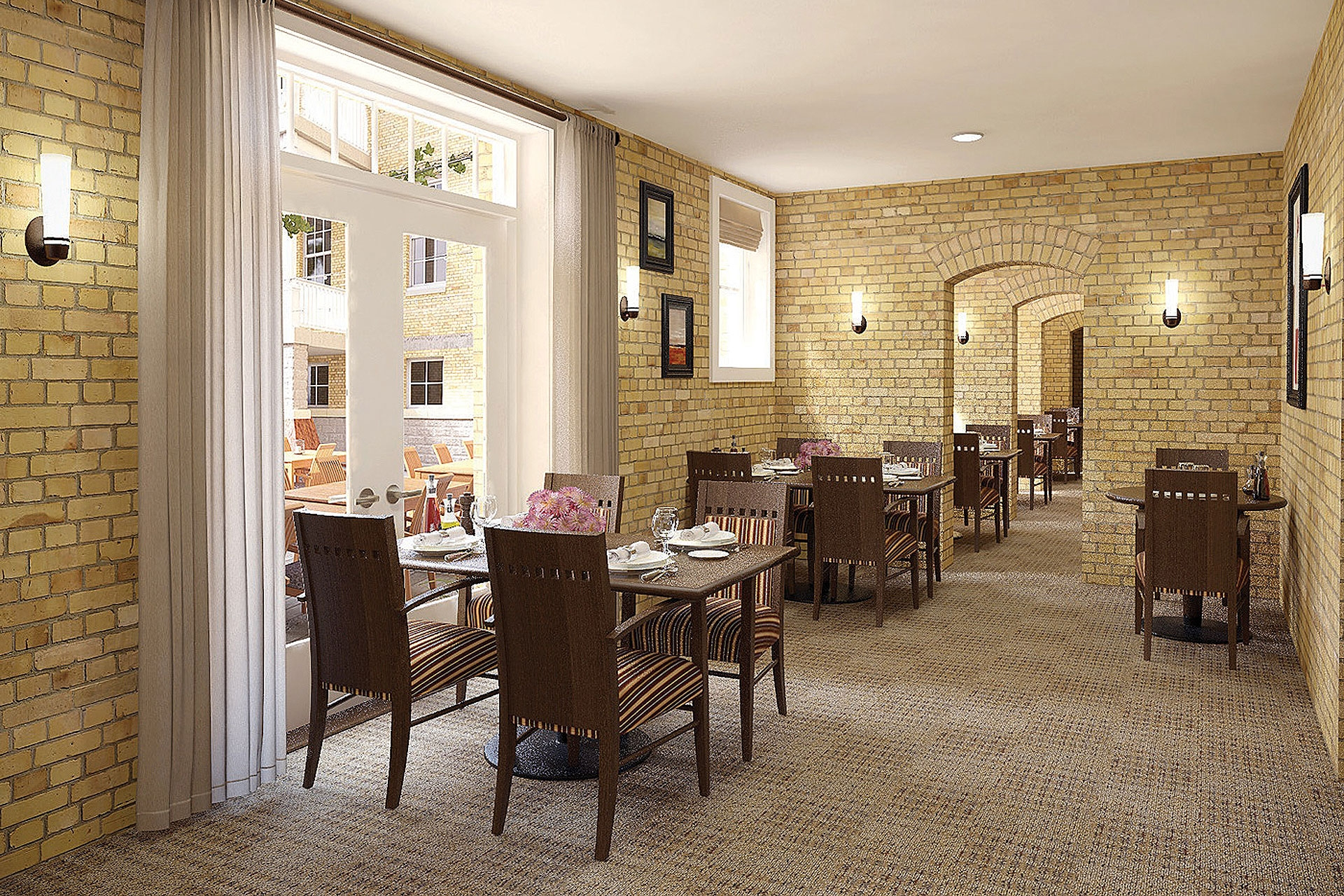 For the seniors living in this assisted living  community, we've designed dining pockets next to the windows around the courtyard