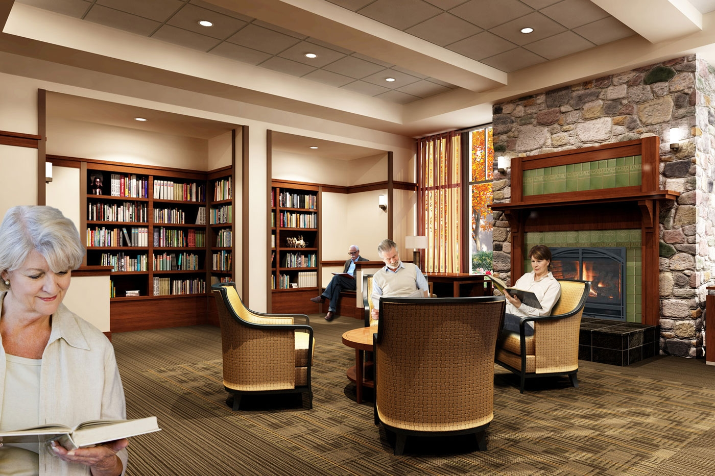 WDC designers created this spacious library in an independent living/assisted living community