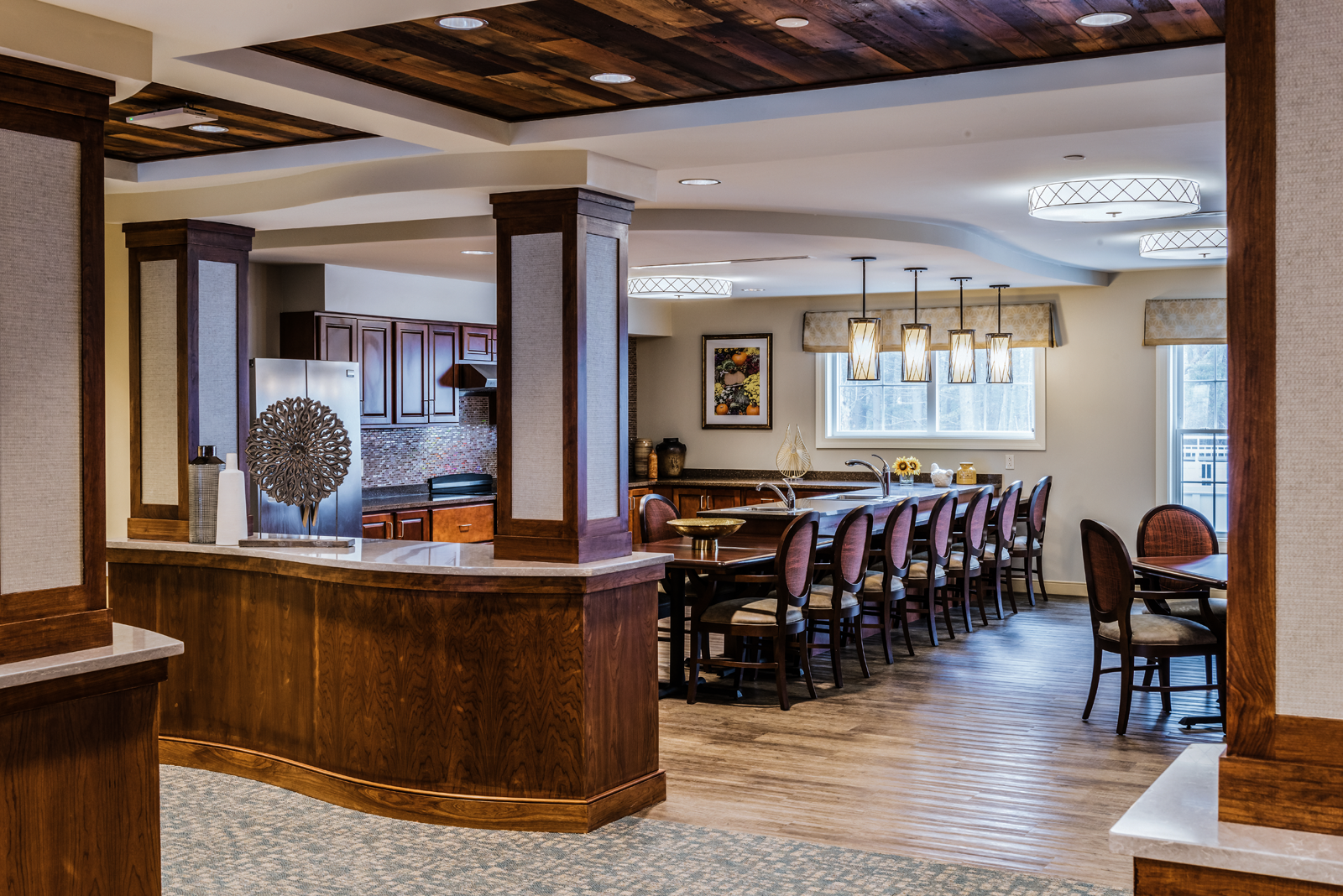 Country kitchen interior design for assisted living community